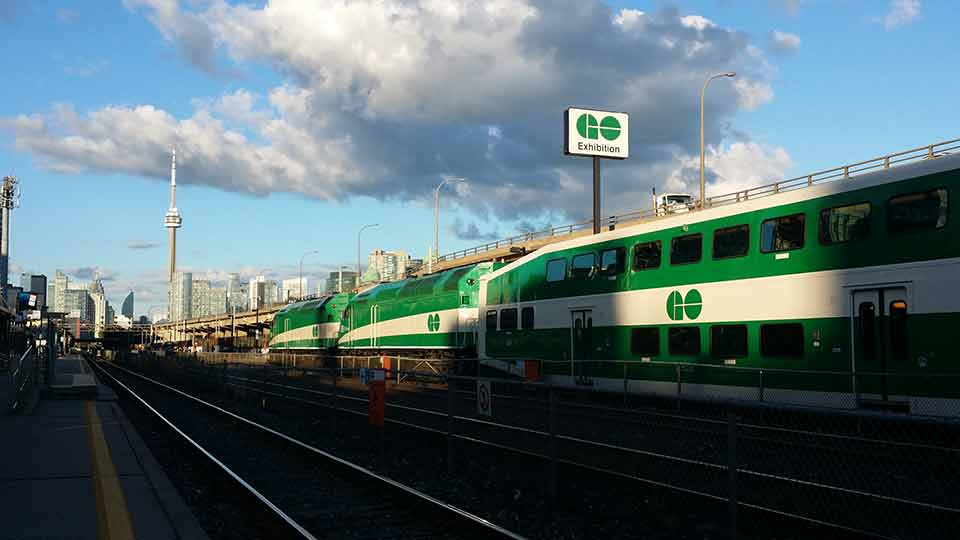 GO train arriving at the Exhibition stop